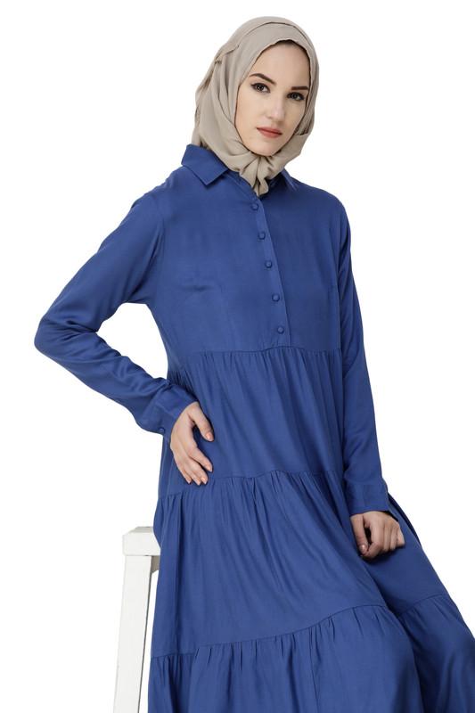 True Blue Three Layer Gathered Midi Dress