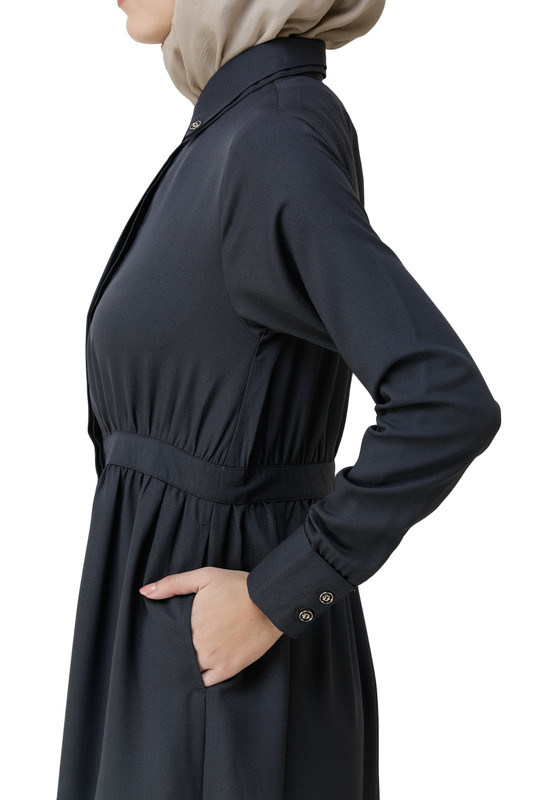 Ebony Gathered Waist Full Front Open Abaya