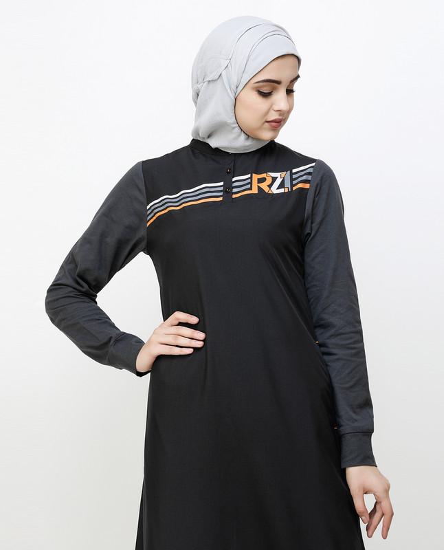 Contrast Sleeve Black Printed Jilbab