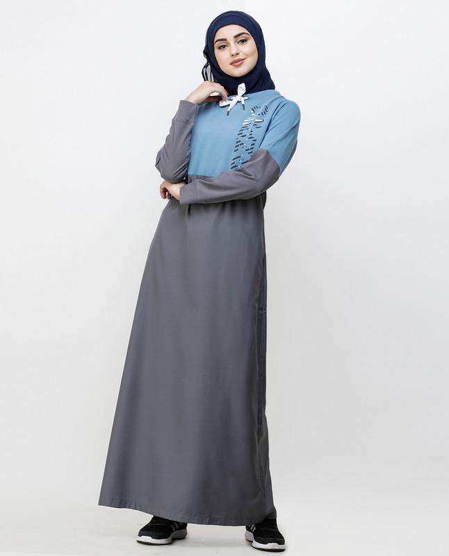 Asphalt Grey & Blue Drawstring Jilbab