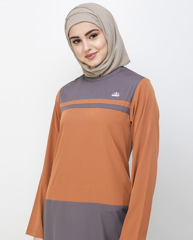 Rabbit Grey & Brown Shoulder Button Jilbab
