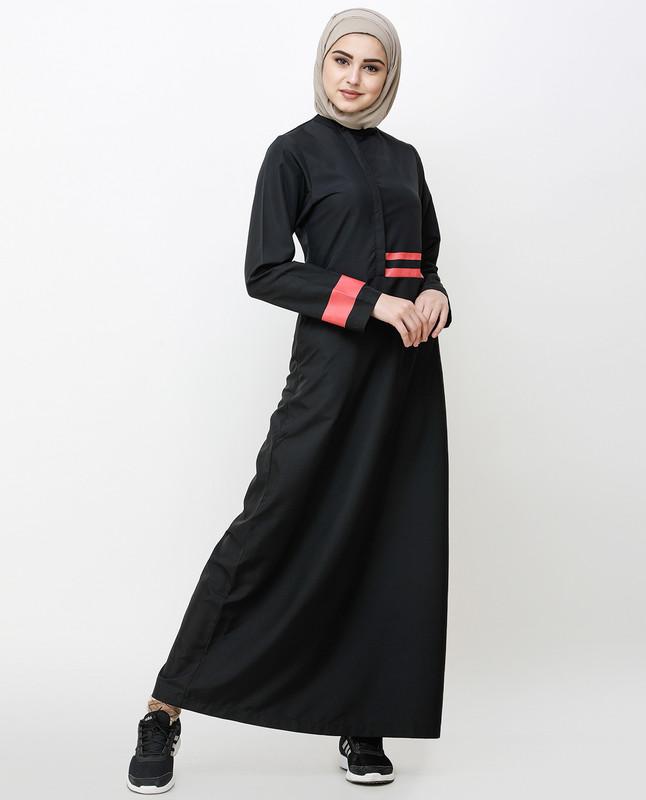 Off Center Black Placket Jilbab