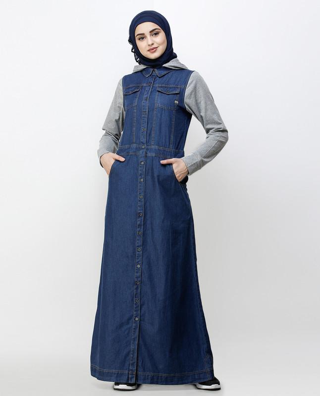 Blue Denim Detachable Hoodie Full Front Open Jilbab