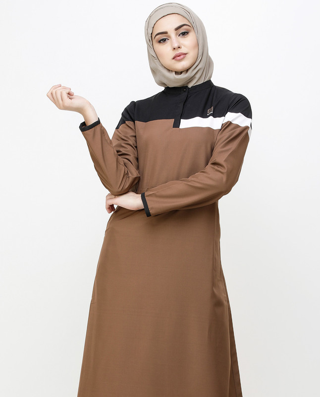 Brown Patina Kangaroo Pocket Jilbab