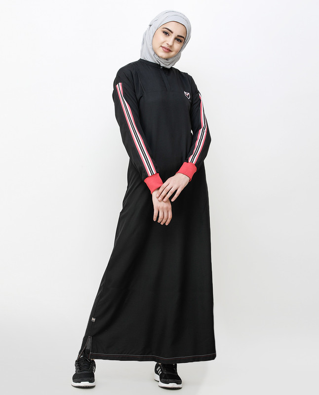 Midnight Black Striped Sleeve Jilbab