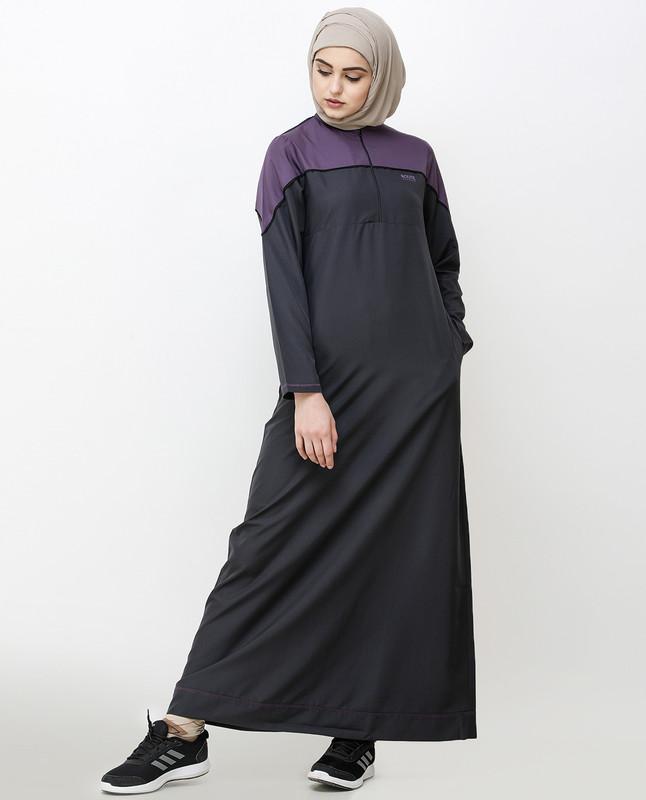 Magnet Grey Front Mid Zipper Jilbab