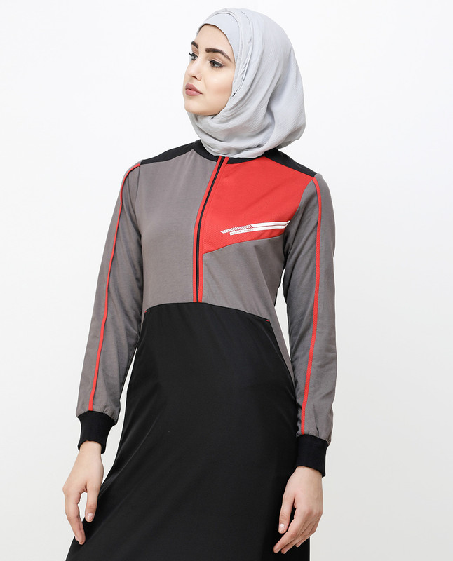 Black And Grey Kangaroo Pocket Jilbab
