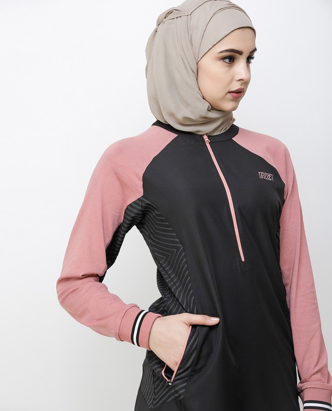 Charcoal Grey & Pink Zipper Jilbab