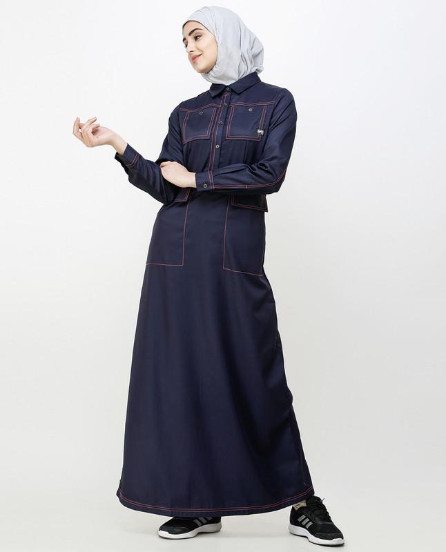 Navy Blue Patch Pockets Buttoned Jilbab