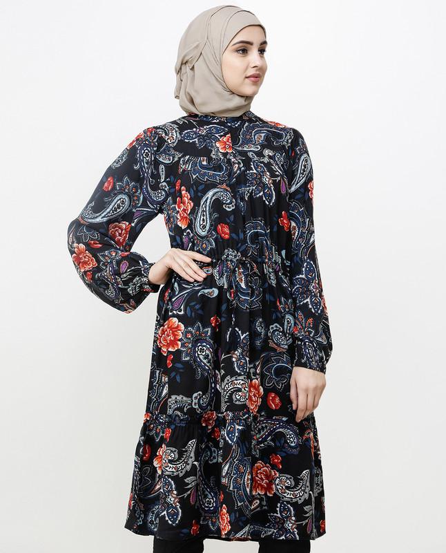 Black Paisley Balloon Sleeve Midi Dress