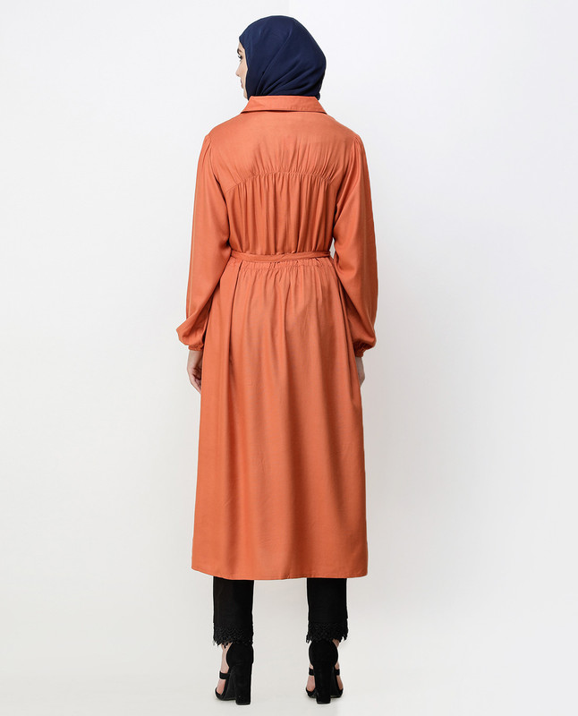 Rust Peter Pan Collar Midi Dress