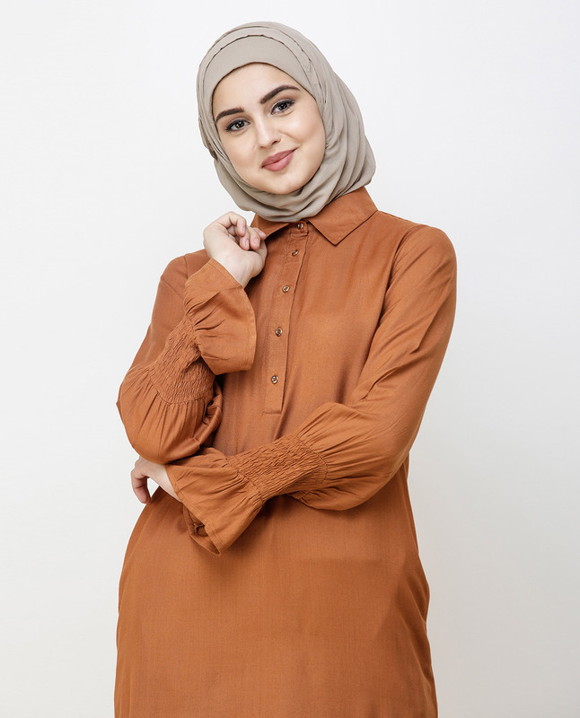 Glazed Ginger Smocked Sleeve Midi Dress