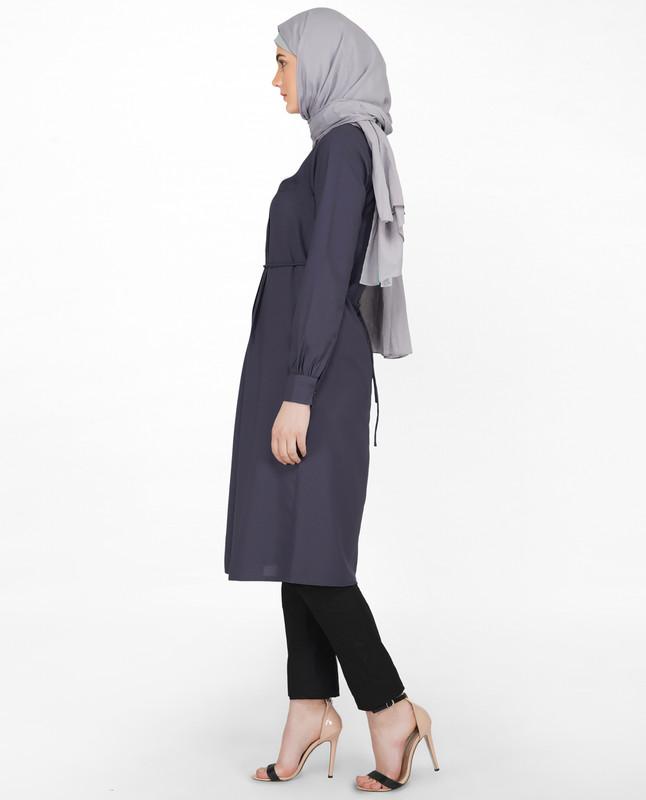 Graphite Front Pleated Midi Dress