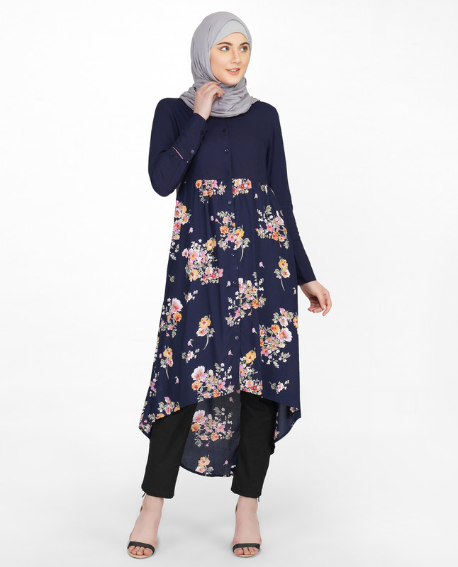 Navy Solid & Floral Mix Shirt Dress