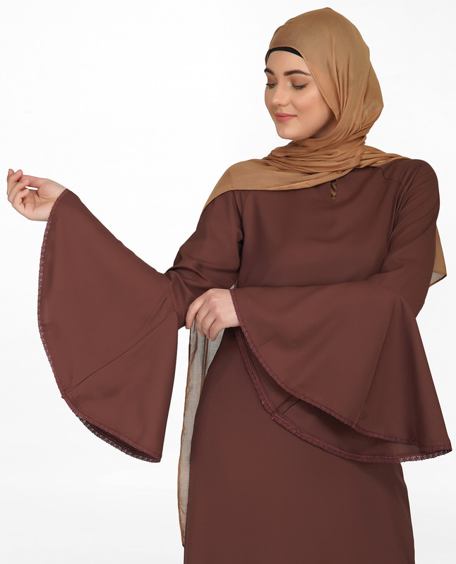 Bell Sleeve Cognac Brown Lace Abaya