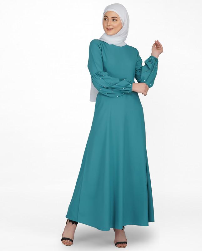 Pearl Embellished Brittany Blue Puffed Sleeve Abaya