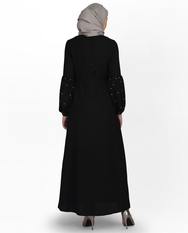 Pearl Embellished Black Puffed Sleeve Abaya