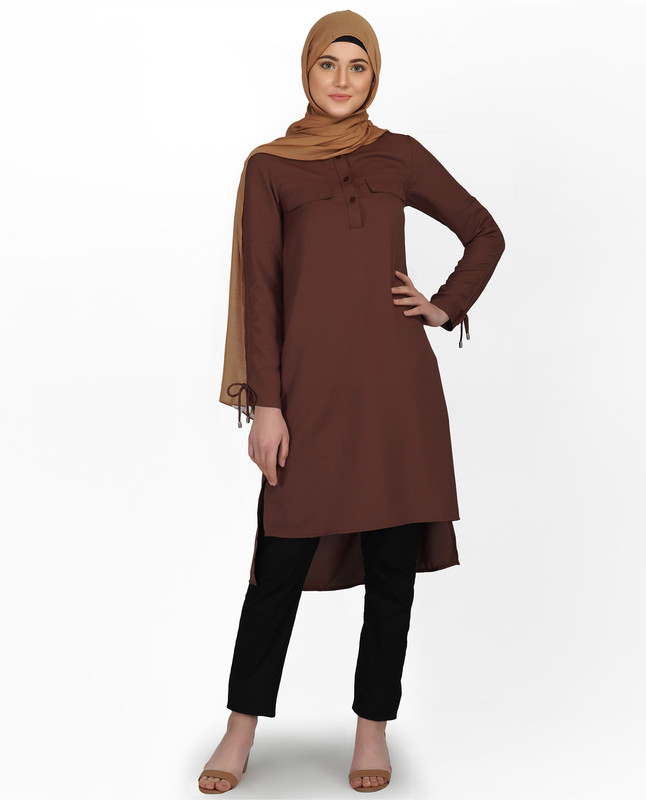 Cognac Brown Drawstring Sleeve Midi Dress
