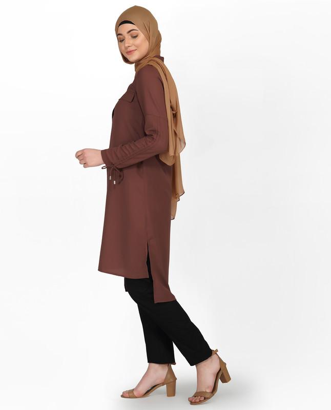 Cognac Brown Drawstring Sleeve Midi Dress