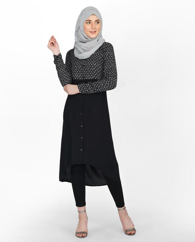 Black Paisley Shirt Dress
