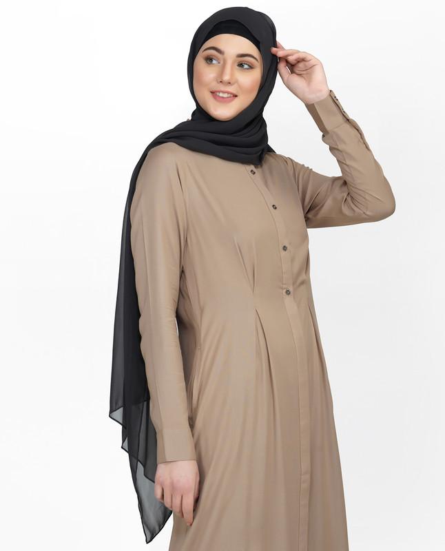 Curved Collar Slim Waist Brown Abaya