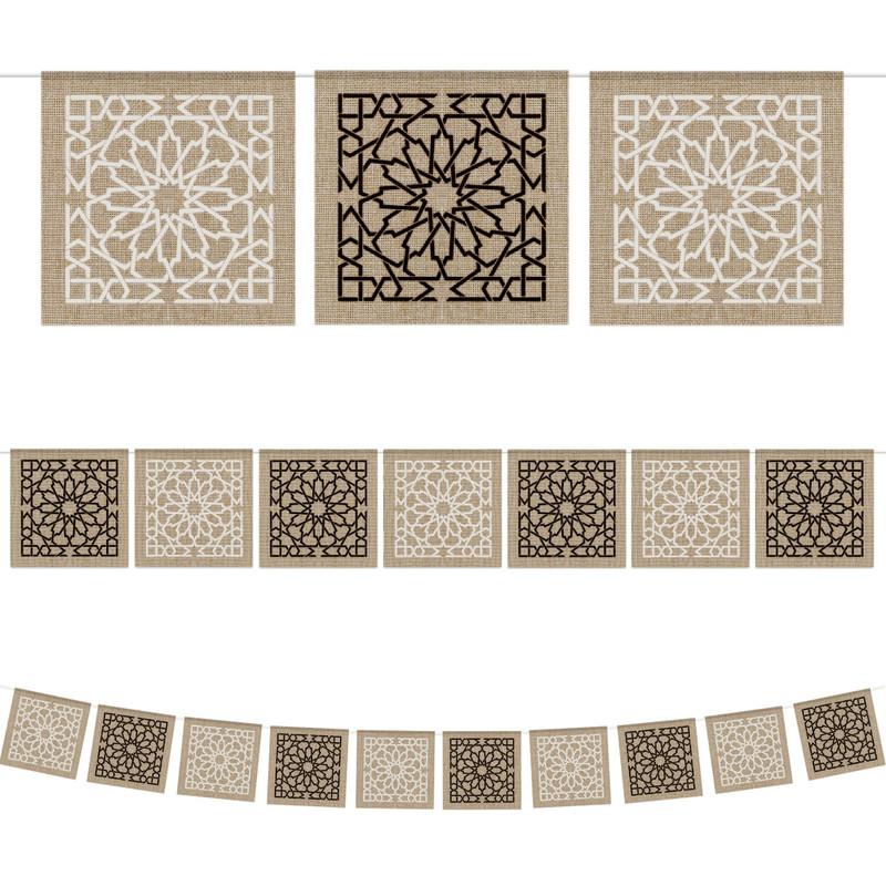 Islamic Geometric Pattern Square Hessian Bunting - 2 meters