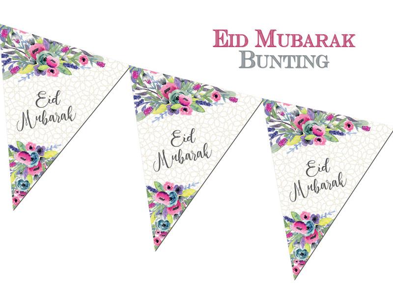 FEB04 - Eid Mubarak Bunting - Watercolour