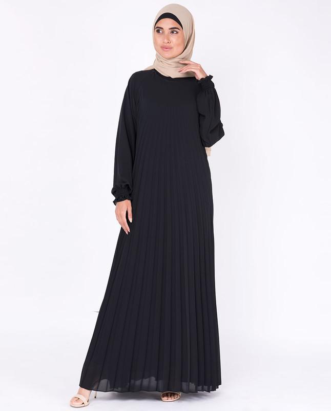 Black Pleated Abaya