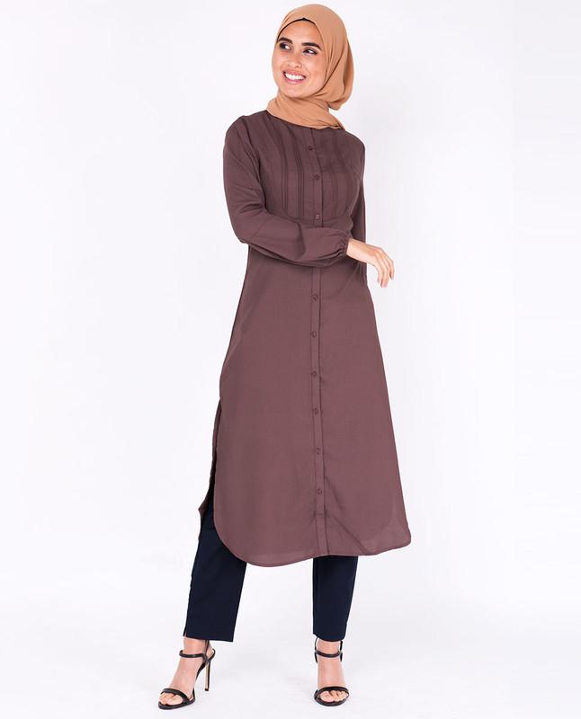 Deep Taupe Pin Tuck Shirt Dress