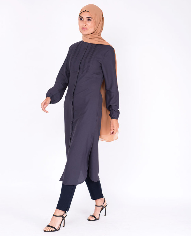 Graphite Pin Tuck Shirt Dress