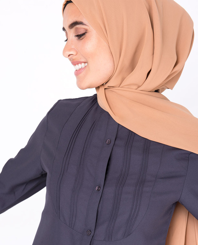 Graphite Pin Tuck Shirt Dress