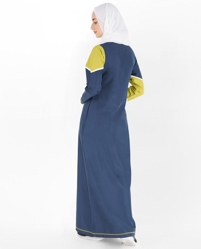 Blue & Green Contrast Band Jilbab