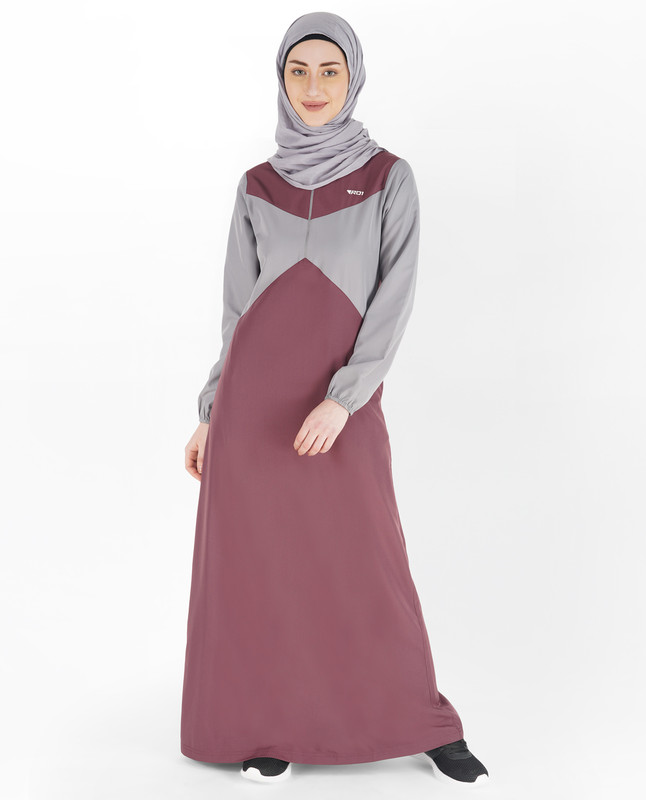 Zinfandel Red & Grey Elastic Sleeve Jilbab