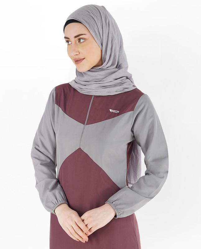 Zinfandel Red & Grey Elastic Sleeve Jilbab