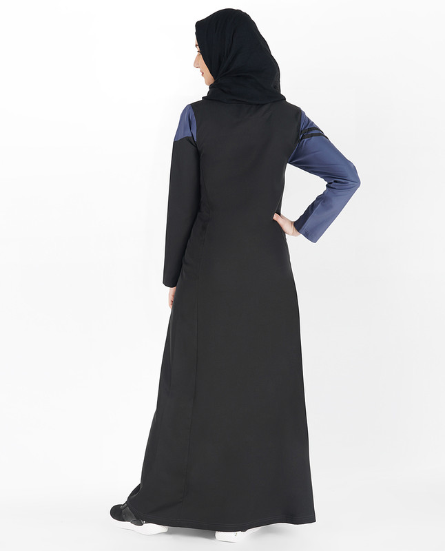 Jet Black and Blue Double Stripe Jilbab