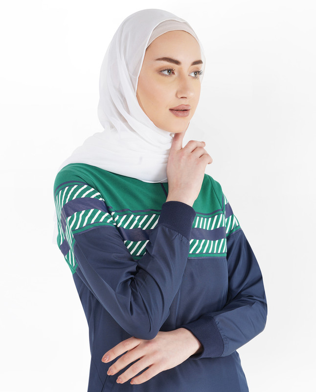Iris Blue Stripe Jilbab