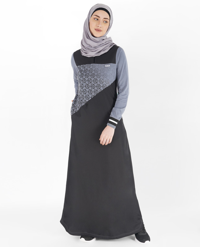 Black and Stone Blue Embroidered Jilbab