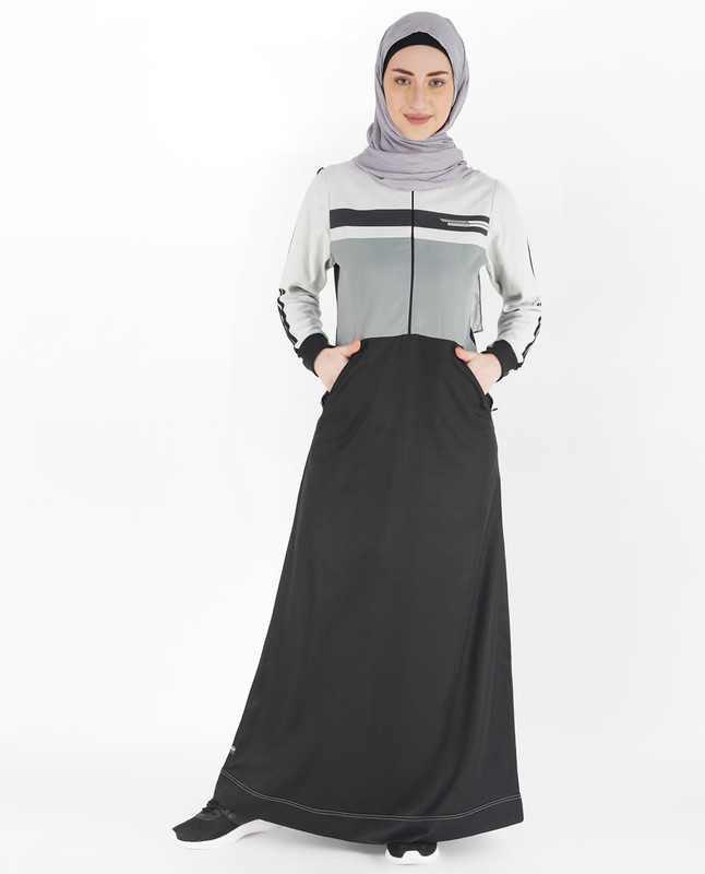 Jet Black and Dove Grey Double Striped Jilbab