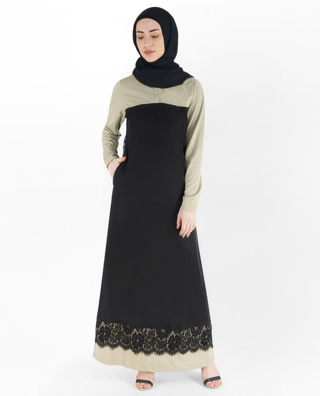 Black and Coat Grey Laced Abaya