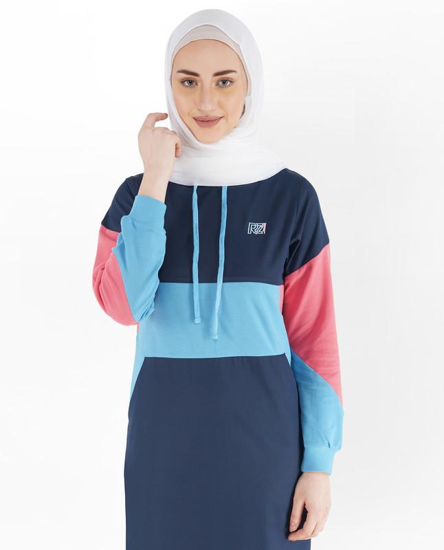 Indigo Blue and Heritage Blue Hoodie Jilbab