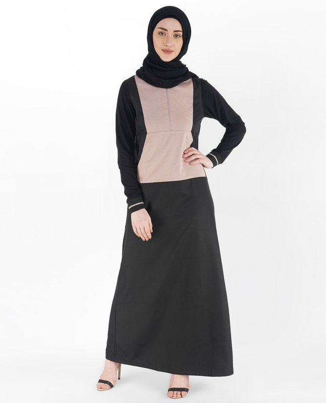 Black and Mauve Baseball Neck Jilbab