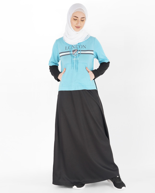 Black and Milky Blue Hoodie Jilbab