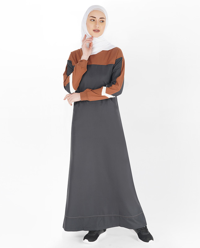 Asphalt Grey and Sequoia Brown Round Neck Jilbab