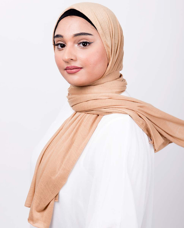 Latte Brown Viscose Jersey Scarf