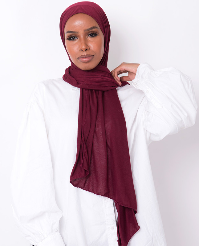 Red Plum Viscose Jersey Scarf