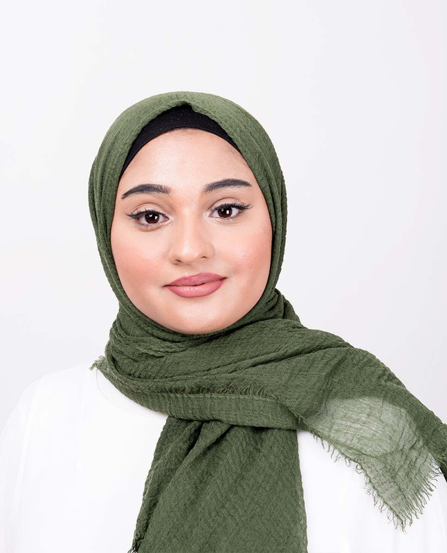 Loden Green Viscose Crinkle Scarf