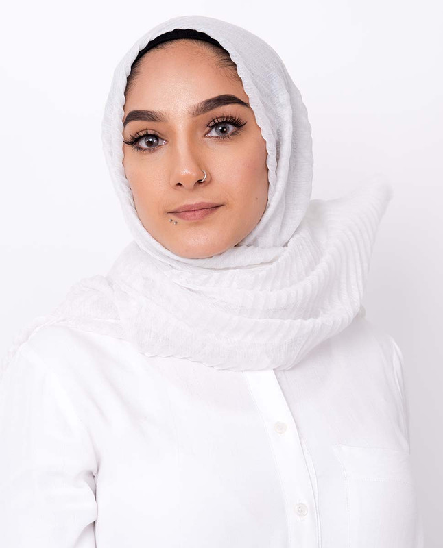 White Cotton Mix Crunchy Scarf