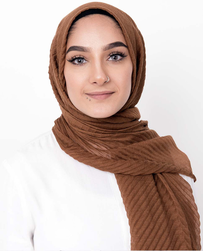 Copper Tan Cotton Mix Crunchy Scarf