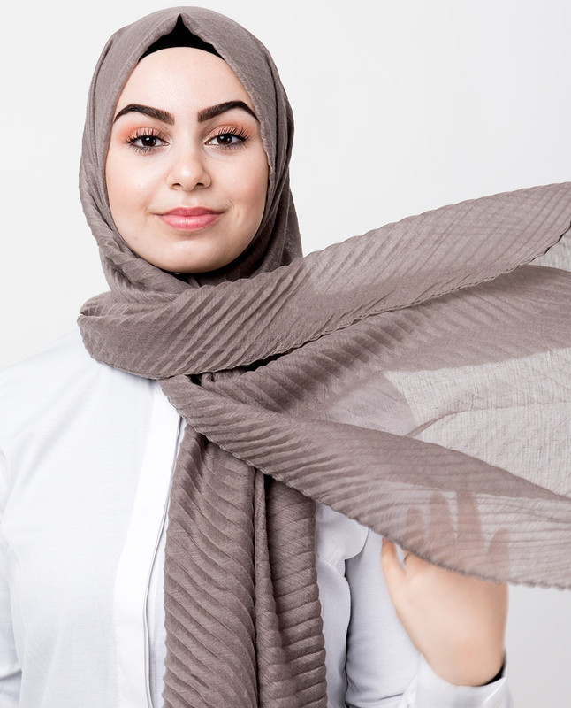 Brown Cotton Mix Crunchy Scarf