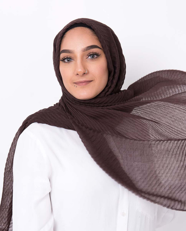 Brown Stone Cotton Mix Crunchy Scarf